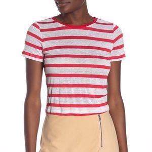 Alice + Olivia Striped Linen Blend Crop Top